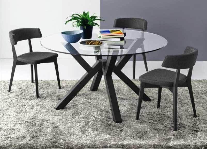 Möbel, Esstisch rund mit glasplatte auf einem massivholz beine in