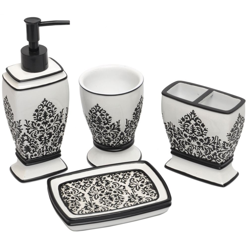 Black White Damask Bath Accessory 4 Piece Set From