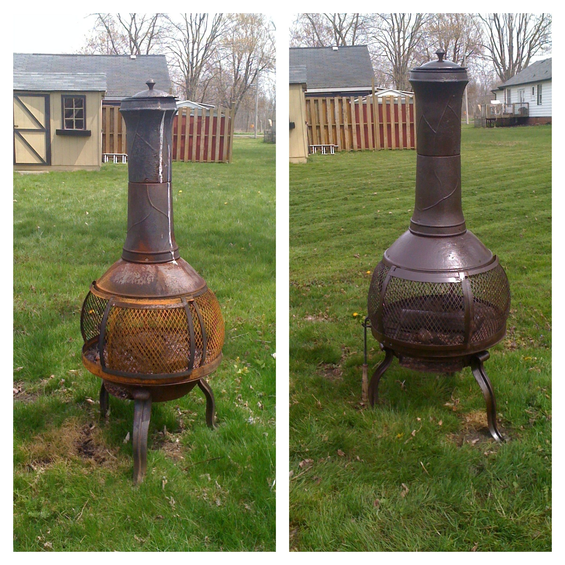 Chimnea Makeover 1 Scrub Chimnea With Tsp And Water 2 Spray With 2 Coats Of Rust Proof Spray Paint Easy Pe Chimnea How To Clean Rust Backyard Inspiration