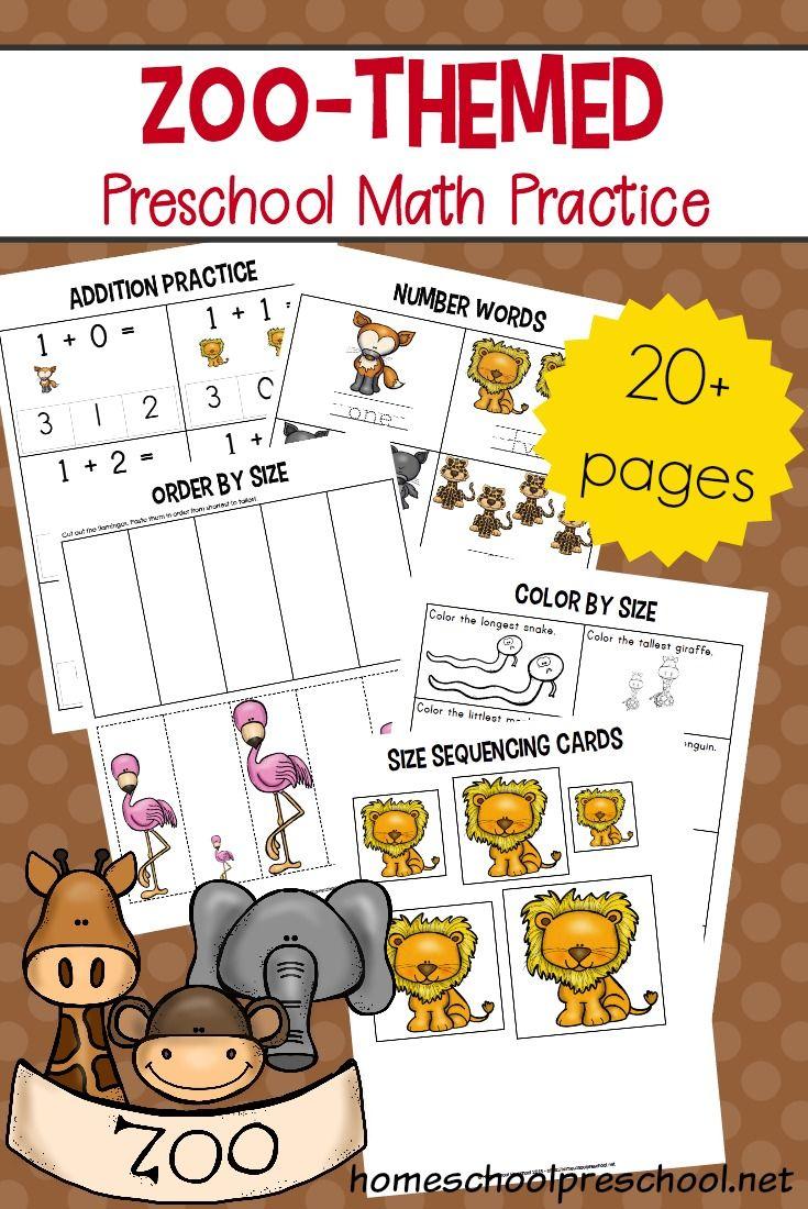 Free Printable Zoo Math Worksheets for Preschoolers Zoo