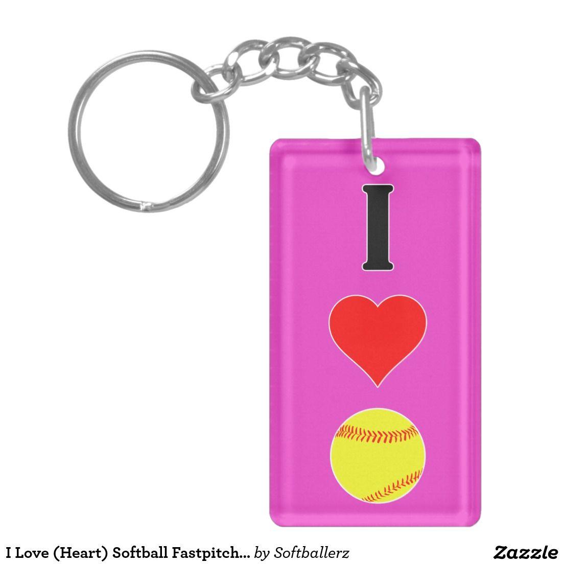 I Love (Heart) Softball Fastpitch Softball Keyring Keychain #softball #fastpitch #keyring