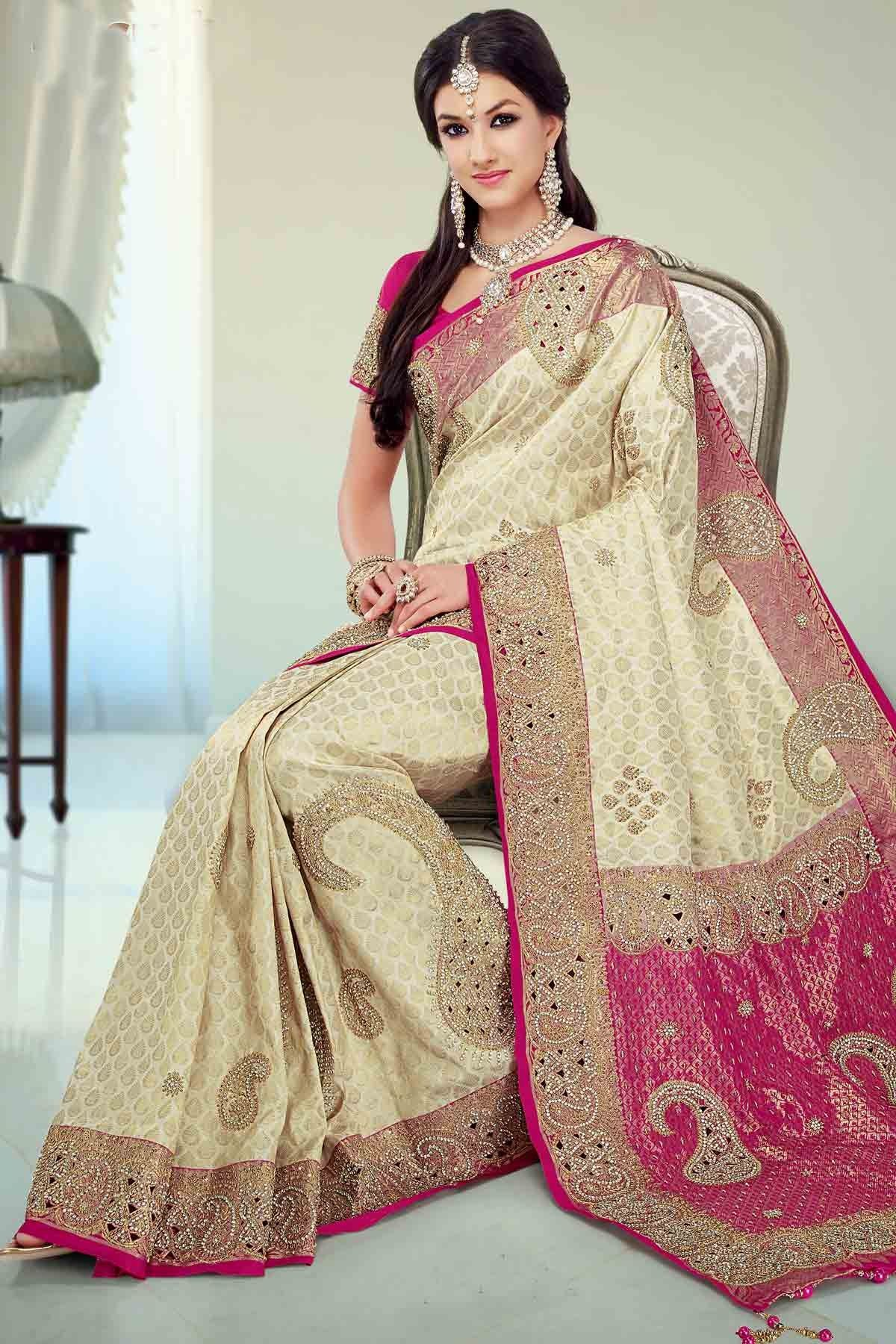 bf075641d77789 Classy  Beige silk brocade zari   stone worked saree in  pink zari ...