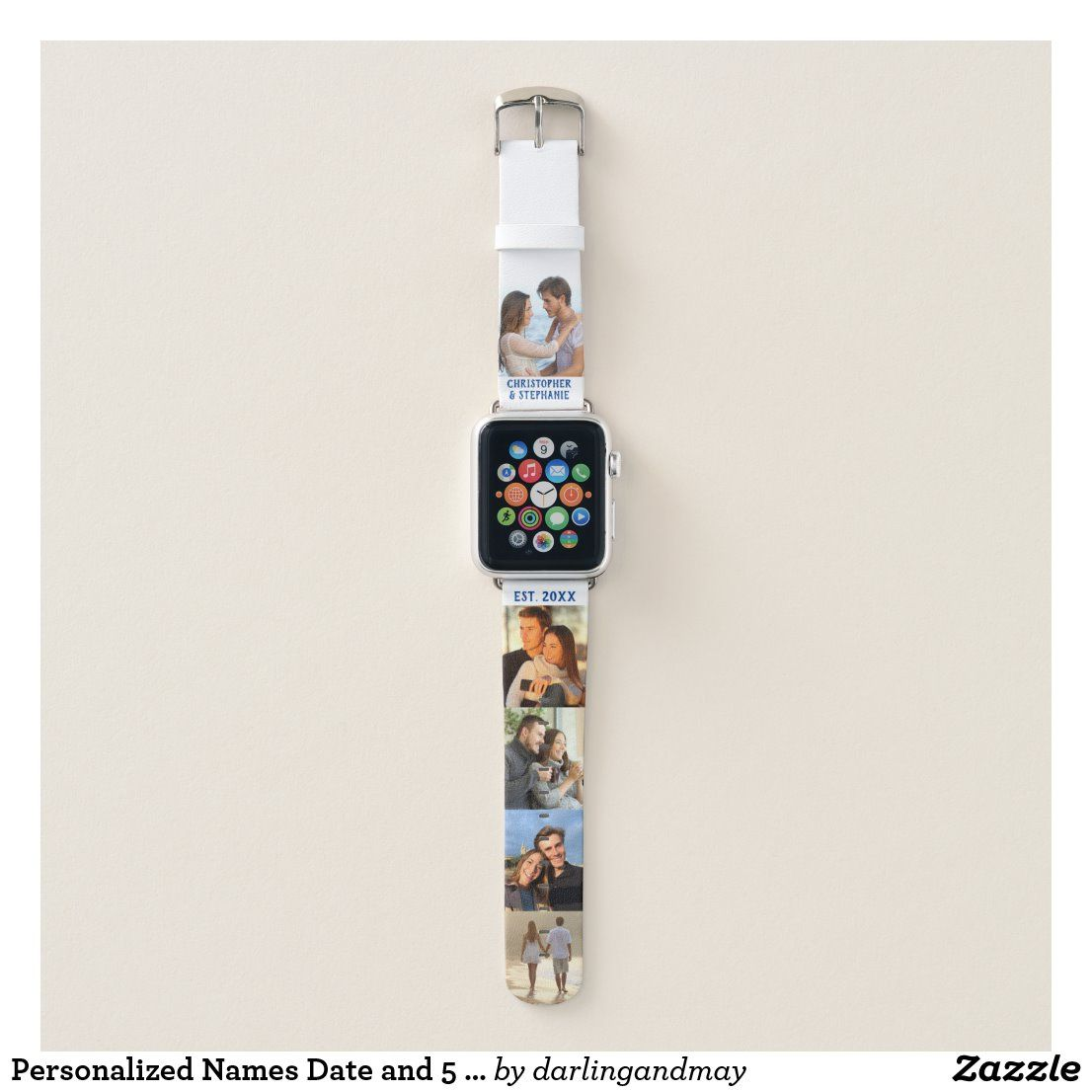 Personalized Names Date and 5 Photo Collage Apple Watch