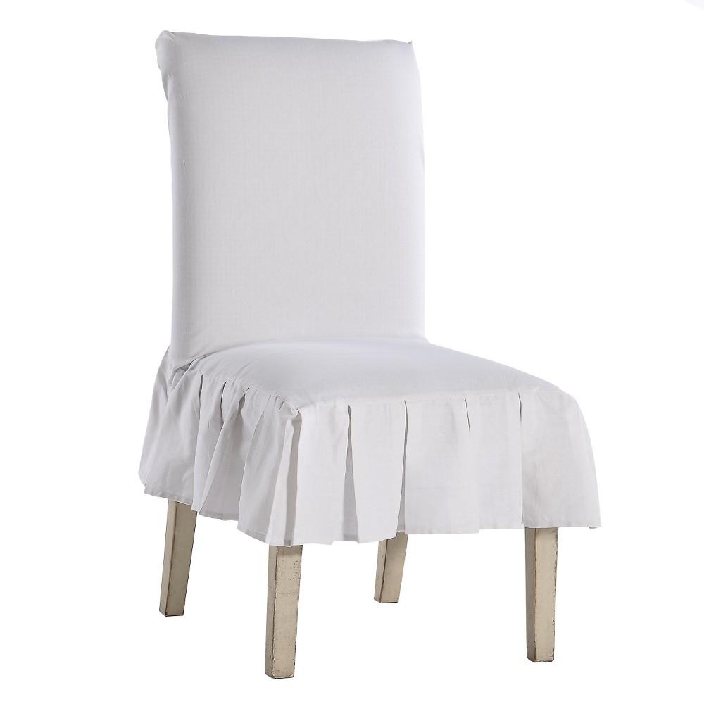 Fantastic White Cotton Duck Pleated Dining Chair Slipcover White Evergreenethics Interior Chair Design Evergreenethicsorg
