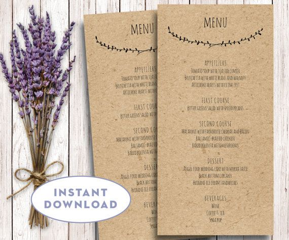 Printable Wedding Menu Template Kraft Menu Template 4 X 8 Editable Text Word Pages Menu Ca Menu Card Template Printable Wedding Menu Wedding Menu Cards