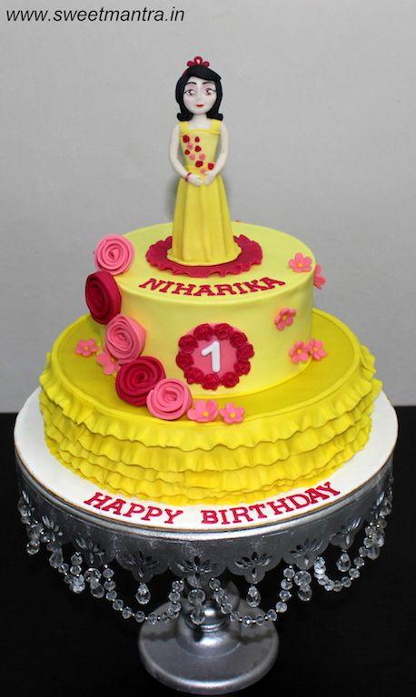 Princess Theme 2 Layer Designer Fondant Birthday Cake With 3d Edible