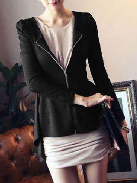 Casual Round Neck Long Sleeve Cotton Blazers Blazers from fashionmia.com
