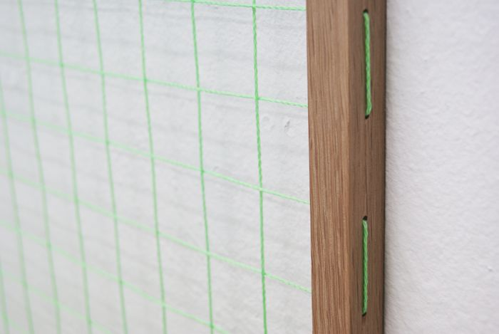 Johan Øvergård Portal (Dürer Grid) Oak and neon bricklayer's string, 112 x 112 x 2,1 cm, 2014 Detail