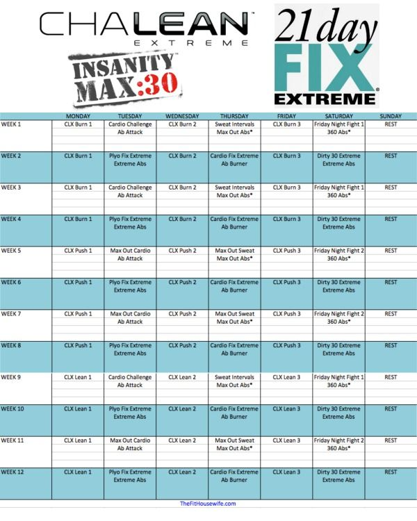 Clx  Day Fix Extreme Insanity Max  Hybrid Schedule  The Fit