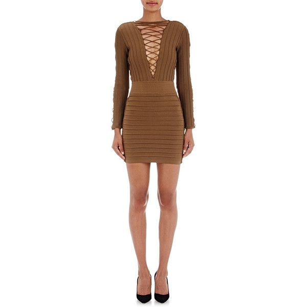 982f24d0ddad Balmain Lace-Up Compact Knit Dress ( 3