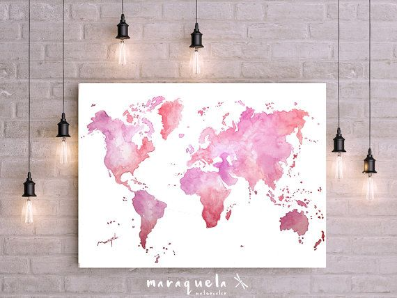 Wedding Gift Paintings: Pink And Violet World Map Wall Art Watercolor Painting