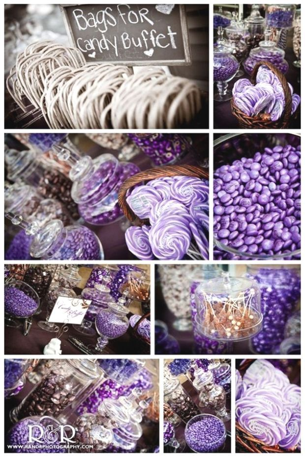 Photo of Hochzeit Candy Bar in Lila & Braun. Und die Taschen von cand…