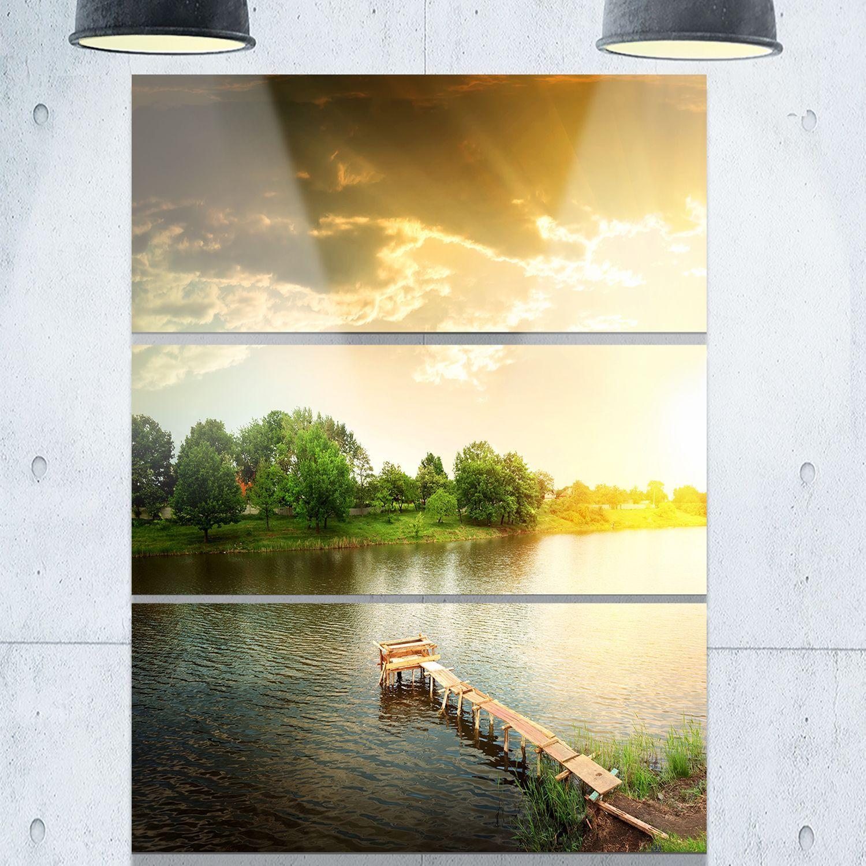 Designart - Lake Under Evening Sun - Landscape Photo Glossy Metal ...