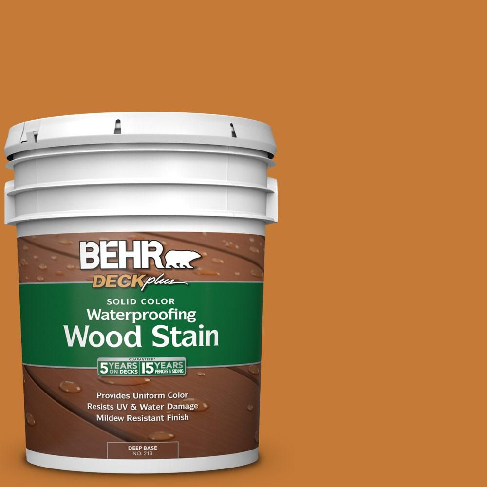Behr Deckplus 5 Gal Sc 140 Bright Tamra Solid Color Waterproofing Exterior Wood Stain Exterior Wood Stain Wood Deck Stain Wood