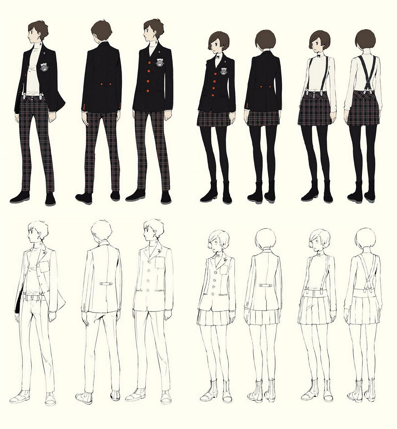 Shujin Academy Winter Uniform concept arts / Persona 5