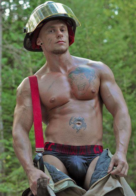 Nude firefighter
