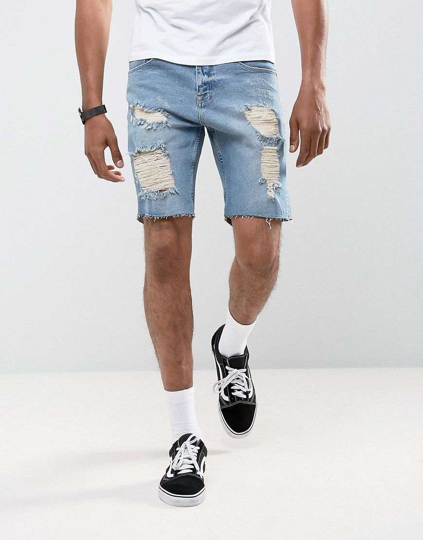 d68e07f81dff0 ASOS Denim Shorts In Slim Mid Wash Vintage Blue With Heavy Rips - Blue