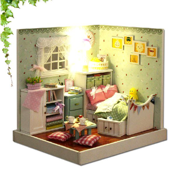 Diy Furniture Room Mini Box Dollhouse Doll House Miniature: 3D DIY Dollhouse Kit Room Box Miniatures Furniture Sets