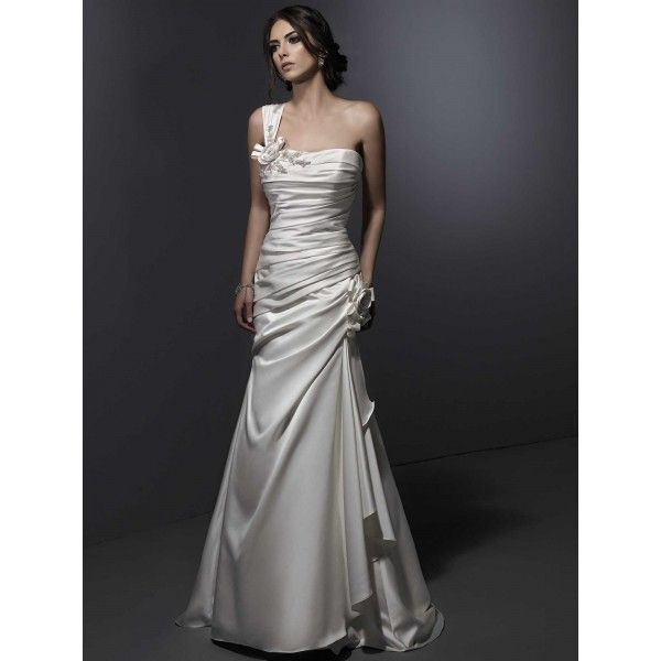 One Shoulder Ruffle and Handmade Flower Elastic Satin Long Beautiful Wedding Gowns 2013. #Oneshoulder, #Aline, #Strapless, #Wedding. Only $288.99
