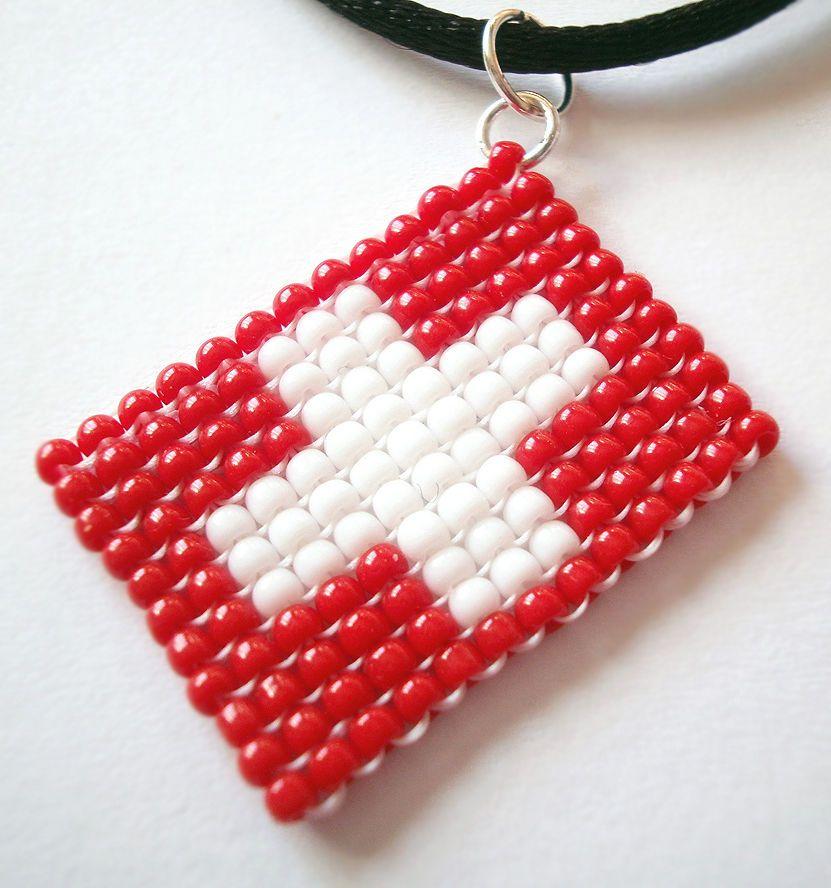 Swiss Suisse Switzerland Bead Flag Earrings - Handmade Bead Work Jewellery d9iaqEejQ