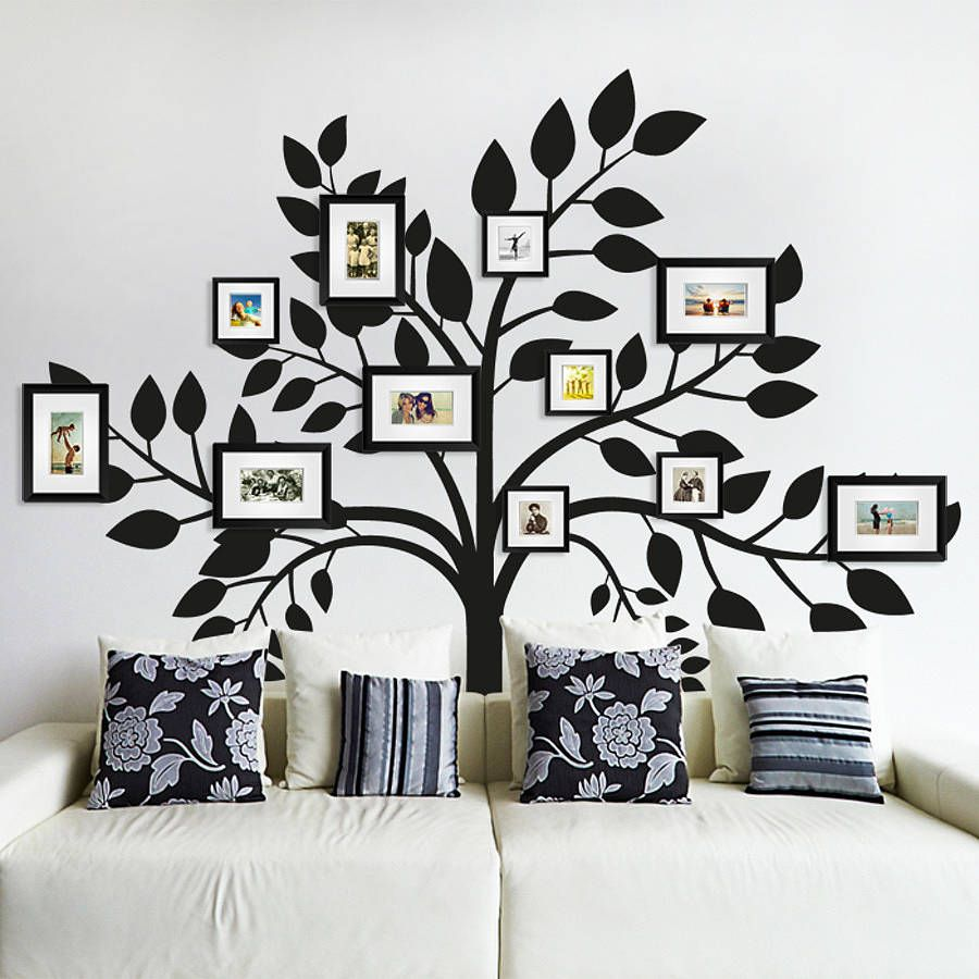 170 family photo wall gallery ideas photo tree tree for The best of family decals for walls