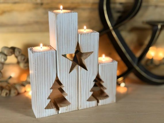 Rustic Christmas Candle Gift Set and Mantle Decor | Mindfulness Gift | Fireplace Decor