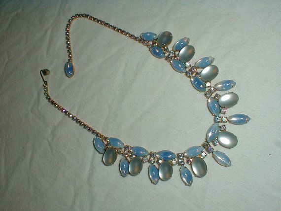 vintage juliana necklace frosted blue by qualityvintagejewels