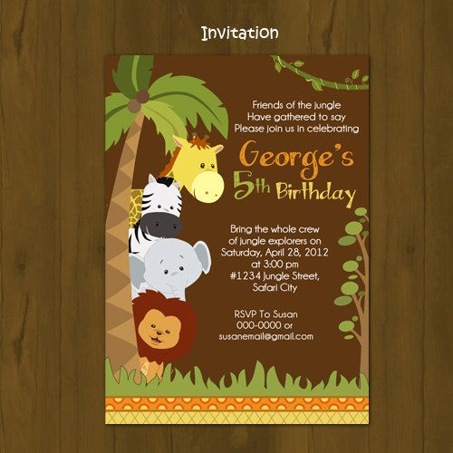 safari zoo jungle wild animals printable birthday package - safari, Wedding invitations