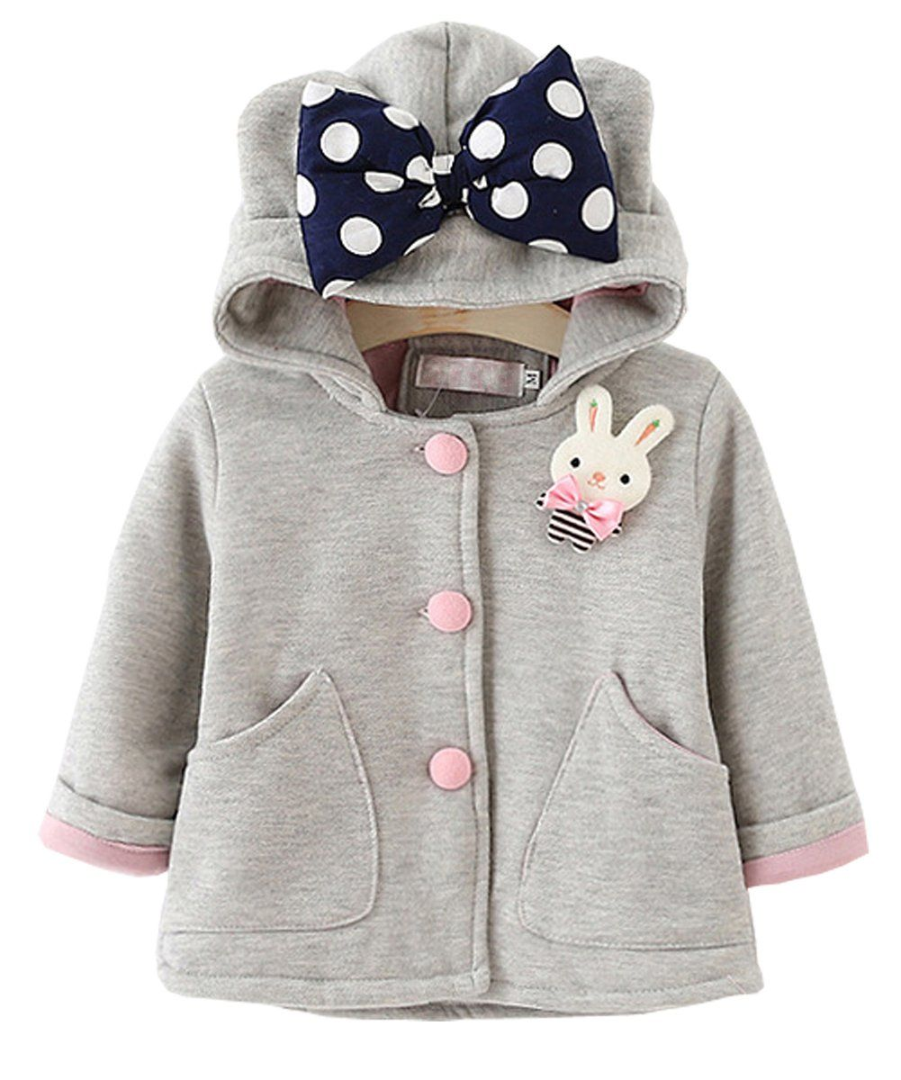 Toddler Children Baby Girls Cartoon Jacket Outerwear Ears Hoodie Clothes Coat L