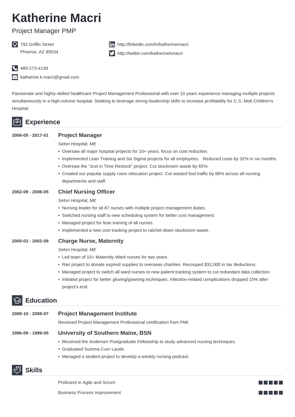 project manager resume template iconic in 2020  project