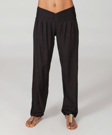 Another great find on #zulily! Black Ruched-Waist Full-Leg Pants #zulilyfinds