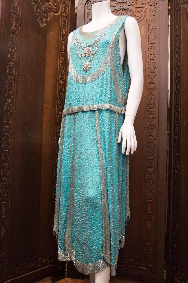 1920s Beaded Aqua Flapper Dress | Flappers, 1920s and Aqua
