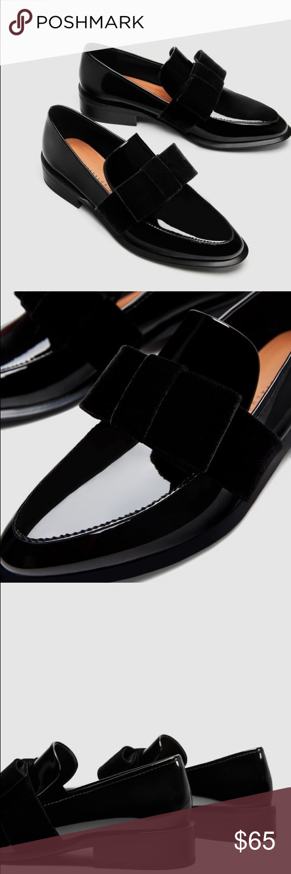 072bf46fb21 NWT Zara Faux Patent Leather Velvet Bow Loafers Flat black shoes with  velvet bow on the instep. Heel height of 3
