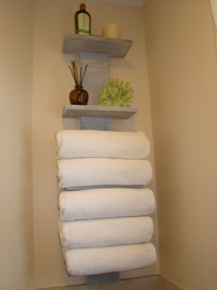 Wall Mounted Wooden Bathroom Towel Storage Hanging On Cream - Wooden towel storage for small bathroom ideas