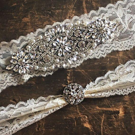 Wedding garter Elegent antique ivory Wedding Garter Set NO SLIP grip vintage rhinestones bridal garter B01S-EB13