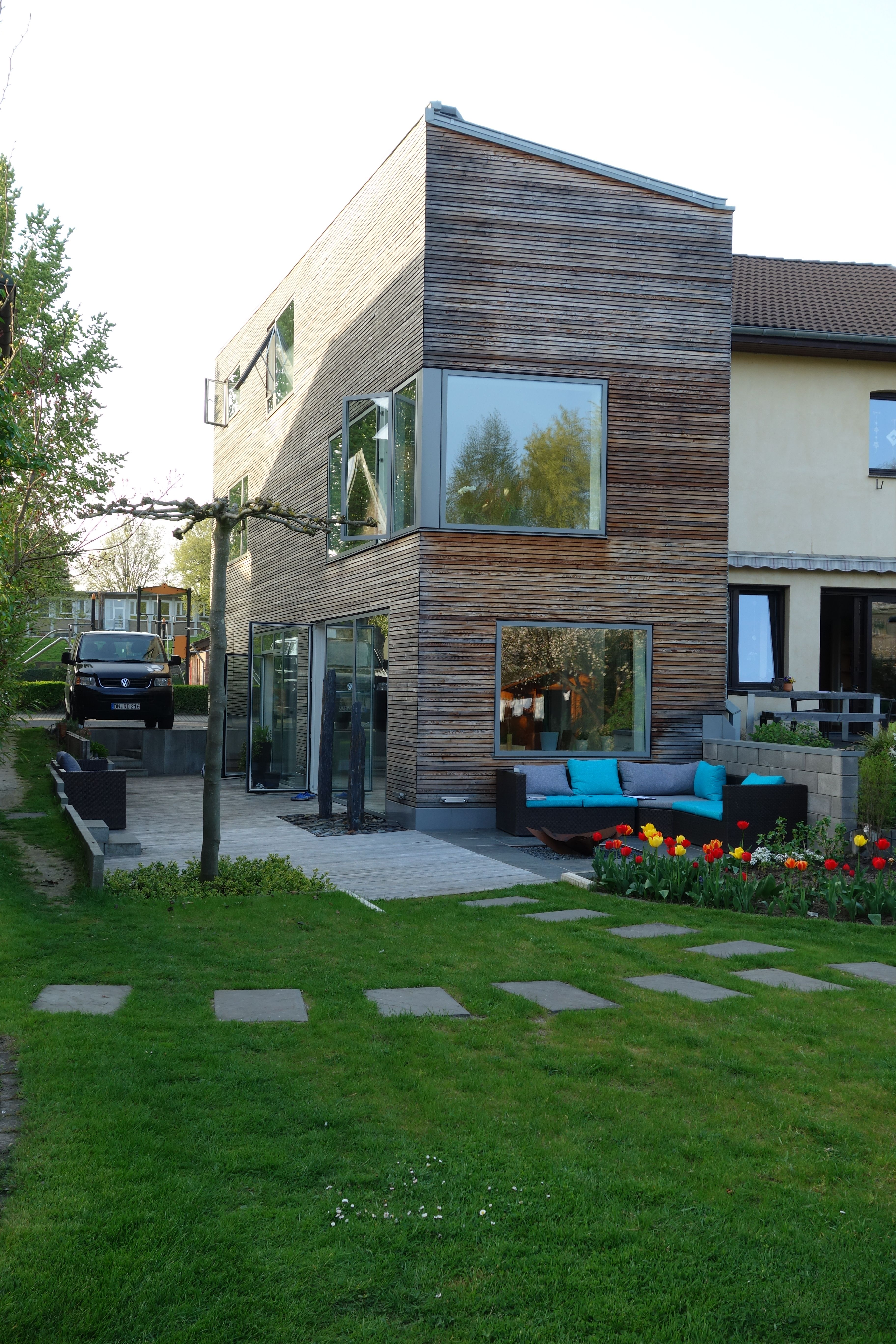 Superb Hausumbau inkl Holzfassade velfac fenster bodentiefefenster fassadenb ndig hausbau