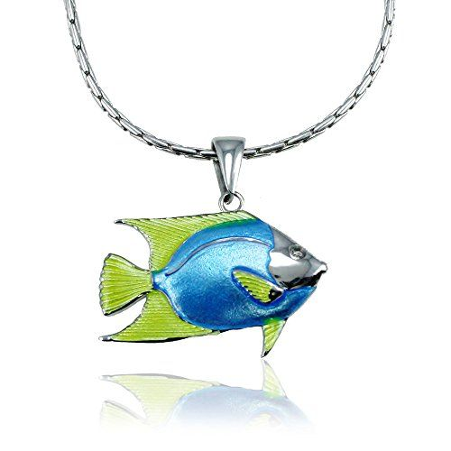 "Guy Harvey Enameled Angelfish Pendant in Sterling Silver with an 18"" Adjustable Necklace Chain *** Read more  at the image link."