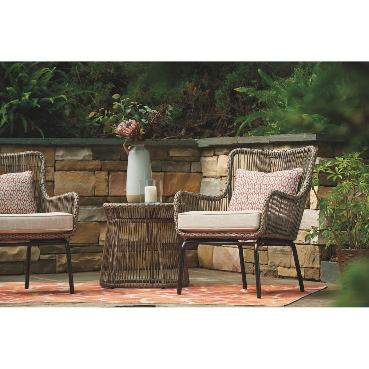 Cotton Road Table And Pair Of Chairs Brown In 2021 Outdoor Patio Decor Patio Set Outdoor Table Settings