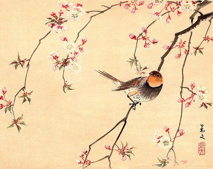 Art Japonais D Oiseaux Et De Fleurs Estampes Affiches Oiseau