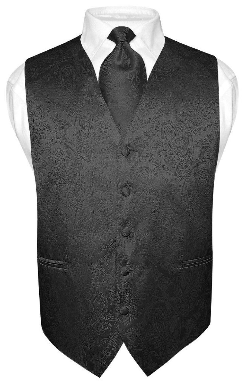 Men S Paisley Design Dress Vest Necktie Black Color Neck Tie Set For Suit Tux In 2020 Mens Vest Fashion Womens Vest Vest And Tie [ 1501 x 960 Pixel ]