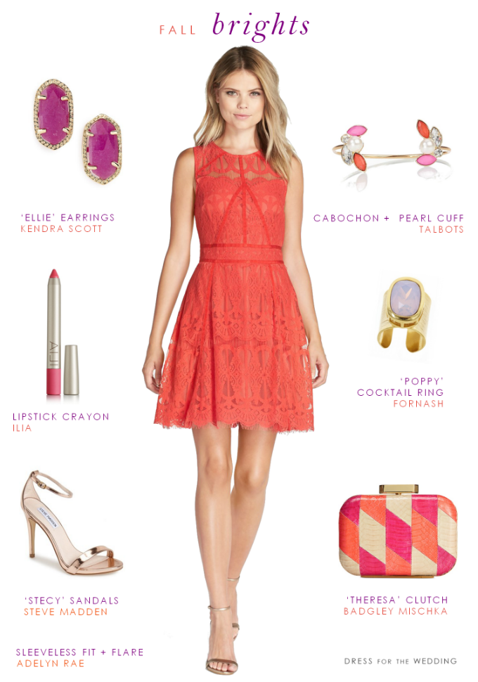 9b07a87eaa Coral Lace Dress. A fun bright coral look for a wedding guest or to wear to  a fall party.