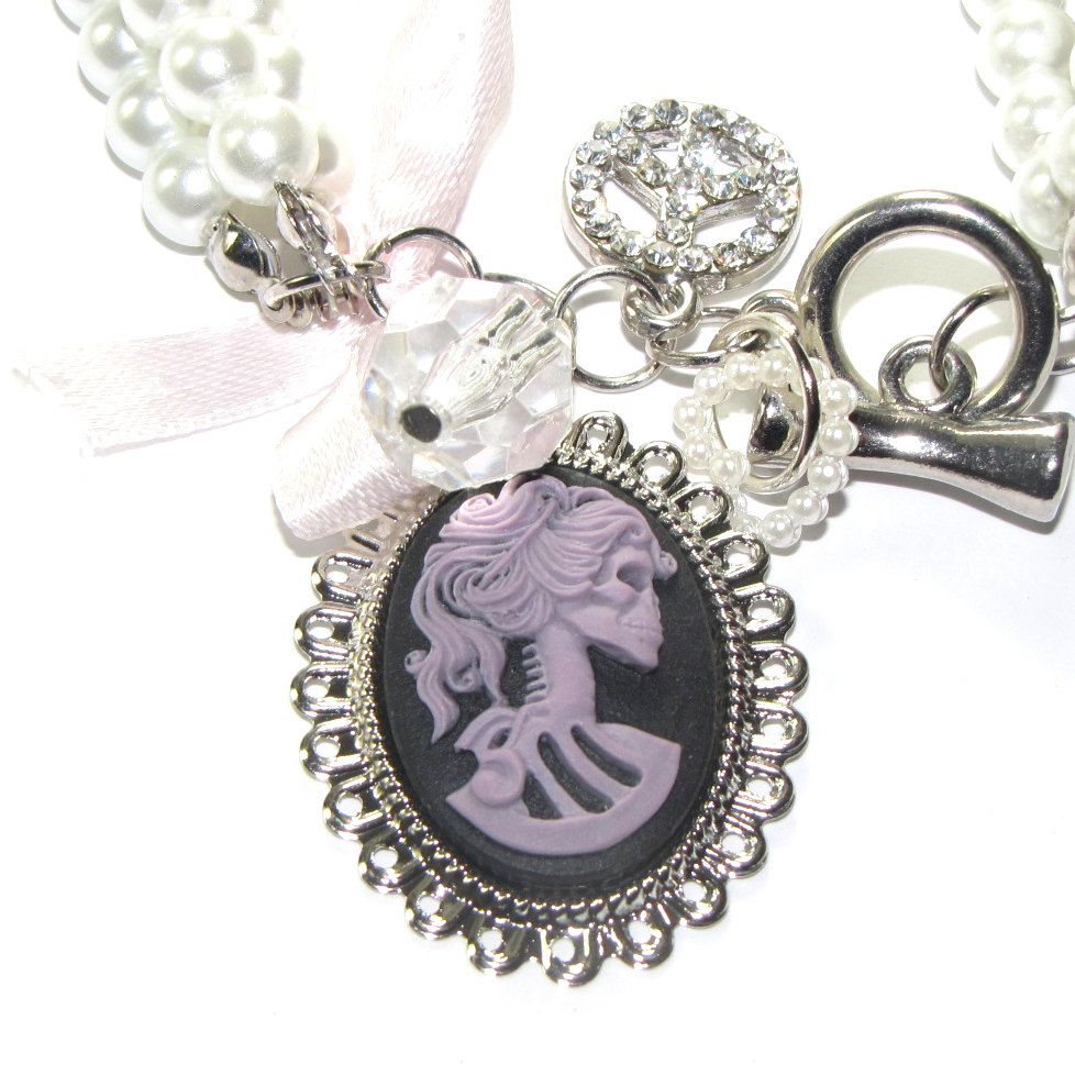 Peace love and zombies zombie girl glamour beaded pearl charm