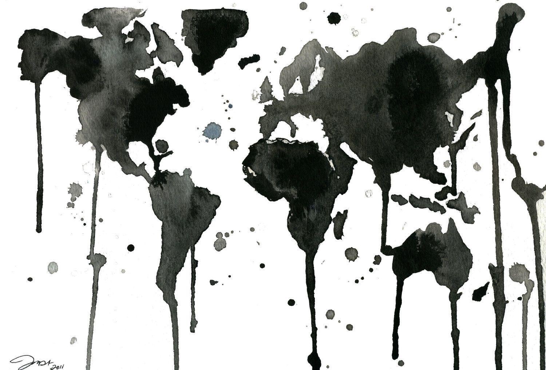 Watercolor travel illustration its a black and white world print black or white me encantara viajar por todo el mundo por que no me atrevo a ir sola que sino maana mismo comenzaba mi aventura gumiabroncs Images
