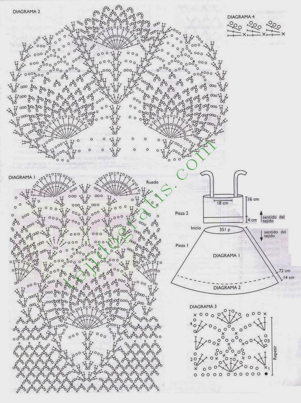 Vestido a crochet con punto piña con patrón | tejido | Pinterest ...