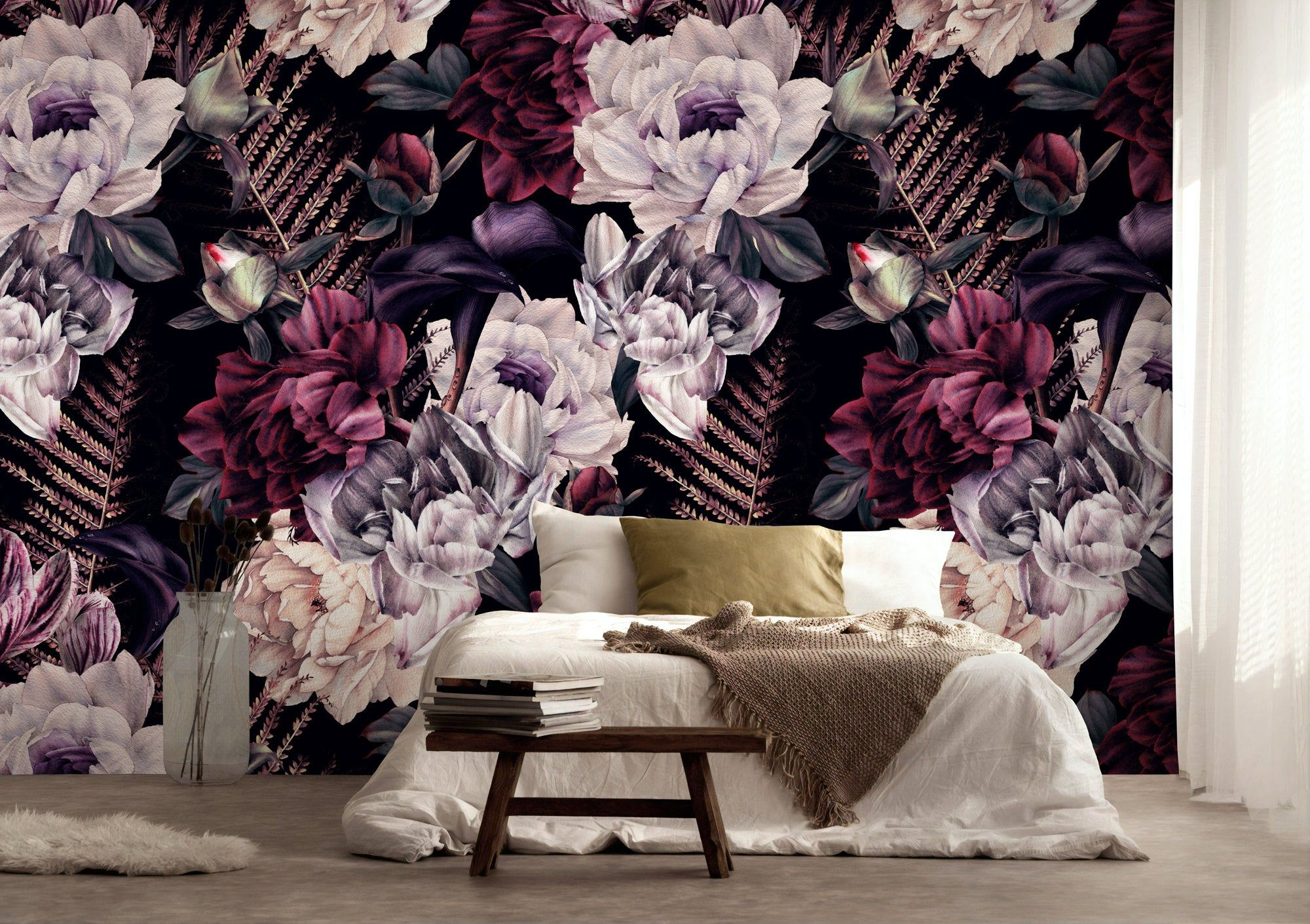 Dark Floral Wallpaper Removable Peel And Stick Self Adhesive Etsy Floral Wallpaper Dark Floral Peel And Stick Wallpaper