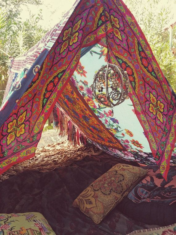 Boho tent teepee Bohemian Tapestry glamping silk by ...