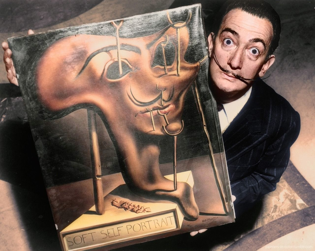 Salvador Dali - with his Soft Self-Portrait with Fried Bacon ...