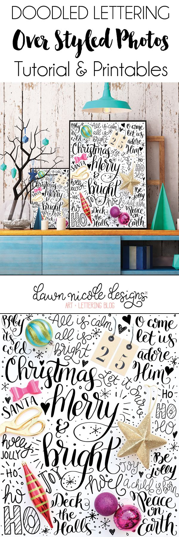 A Hand Lettered Holiday: Lettering on Photos | Tutorial, Printable + Practice Sheet! dawnnicoledesigns.com