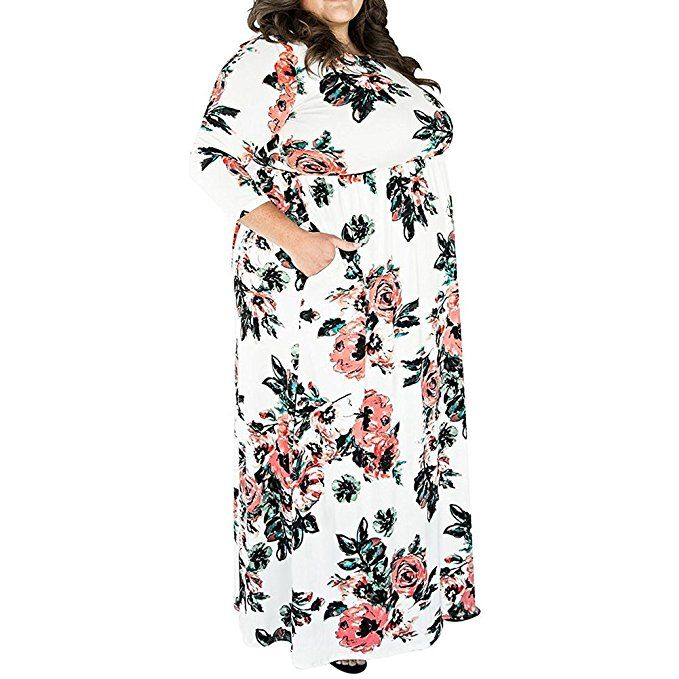 6ad1d22f7fc HOOYON Women s Casual Floral Printed Long Maxi Dress with Pockets(S-5XL) at Amazon  Women s Clothing store