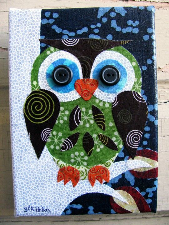 Recycled fabric wall art owl on Etsy SO COOL!!!